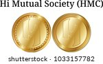 set of physical golden coin hi... | Shutterstock .eps vector #1033157782