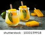 spicy mango popsicle margarita... | Shutterstock . vector #1033159918