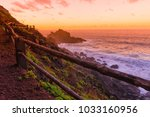 Stock photo road to playa nogales at sunset la palma canary islands spain 1033160956
