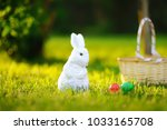 colorful eggs and cute white... | Shutterstock . vector #1033165708