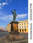 duke richelieu statue  odessa's ... | Shutterstock . vector #1033165798