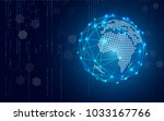 blue technology circle and... | Shutterstock .eps vector #1033167766