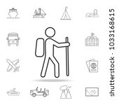 hiking line icon. set of...