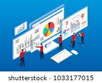 isometric multiple web pages... | Shutterstock .eps vector #1033177015