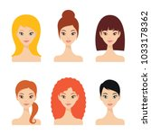 pretty young women faces with... | Shutterstock .eps vector #1033178362