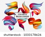 Set of colorful brush strokes. Modern design element. Vector illustration | Shutterstock vector #1033178626