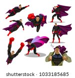 comic superman actions in... | Shutterstock .eps vector #1033185685
