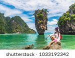 traveler woman with backpack... | Shutterstock . vector #1033192342
