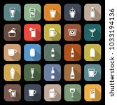 beverage flat icons with long... | Shutterstock .eps vector #1033194136
