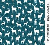 deer seamless pattern.... | Shutterstock .eps vector #1033205356
