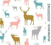 deer seamless pattern.... | Shutterstock .eps vector #1033205362