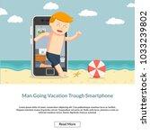 man going vacation trough... | Shutterstock .eps vector #1033239802