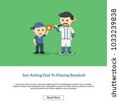 son asking dad to playing... | Shutterstock .eps vector #1033239838