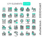 city elements   thin line and... | Shutterstock .eps vector #1033241665