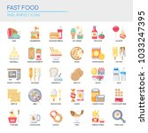 fast food elements   thin line... | Shutterstock .eps vector #1033247395