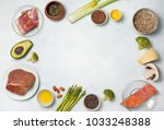 ingredients for ketogenic diet  ... | Shutterstock . vector #1033248388