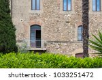tuscan balcony with stone walls ... | Shutterstock . vector #1033251472