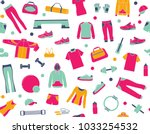equipment  clothing and... | Shutterstock .eps vector #1033254532