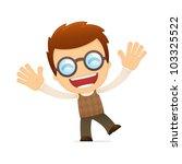 funny cartoon genius in various ... | Shutterstock .eps vector #103325522