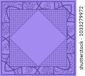 decorative floral frame. indigo ... | Shutterstock .eps vector #1033279972