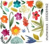 watercolor flowers smears ... | Shutterstock . vector #1033285462