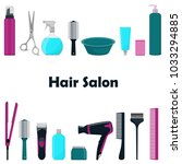 tools and cosmetic products for ... | Shutterstock .eps vector #1033294885