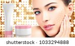 woman beauty face and cosmetics ... | Shutterstock . vector #1033294888