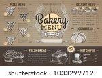 vintage cardboard bakery menu... | Shutterstock .eps vector #1033299712