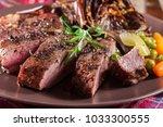Slices of beef steak served...