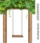 Wooden Swing Hanging On Wooden...