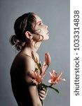 art beauty girl face closeup... | Shutterstock . vector #1033314838