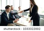 job applicant having interview. ... | Shutterstock . vector #1033322002