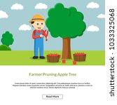 farmer pruning apple tree... | Shutterstock .eps vector #1033325068