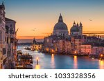 grand canal at night with... | Shutterstock . vector #1033328356