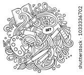 cartoon vector doodles art and... | Shutterstock .eps vector #1033336702
