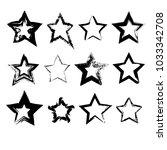 set of hand drawn grunge star... | Shutterstock .eps vector #1033342708