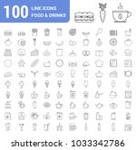 100 food and drinks line icons  ... | Shutterstock .eps vector #1033342786