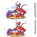 crab robber burglar and thief | Shutterstock .eps vector #1033344892
