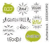 organic food labels set.... | Shutterstock .eps vector #1033349392