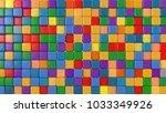 toy colored cubes. 3d rendering | Shutterstock . vector #1033349926