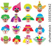 clowns faces  icons  big set.... | Shutterstock .eps vector #1033352662