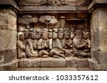 ancient bas reliefs on the... | Shutterstock . vector #1033357612