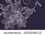 abstract  hand drawn floral... | Shutterstock .eps vector #1033358122