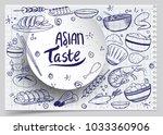 cartoon cute hand drawn japan...   Shutterstock .eps vector #1033360906