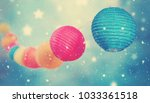 colorful round lampions light... | Shutterstock . vector #1033361518