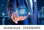 view of a processor chip and... | Shutterstock . vector #1033364692