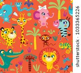 seamless pattern with cute... | Shutterstock .eps vector #1033365226