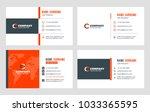 set of 4 business card... | Shutterstock .eps vector #1033365595