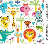 seamless pattern with cute... | Shutterstock .eps vector #1033366465