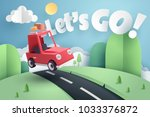 paper art of red car jumping on ... | Shutterstock .eps vector #1033376872
